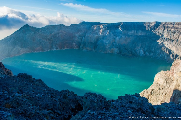 The expanse of the lake at Kawah Ijen.