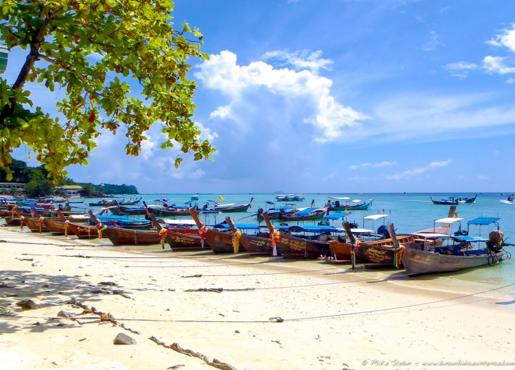 Long tail boats on Phi Phi Don Island.