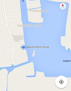 The location for the boat dock in Alleppey.