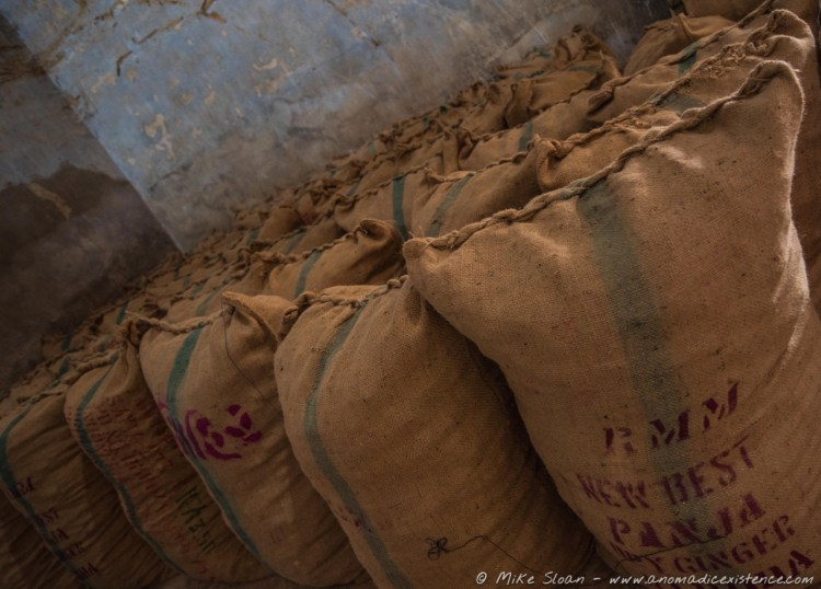 Sacks of spices - this one ginger - for sale.