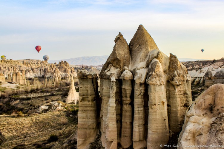 Flying through 'Love Valley' in Goreme... I wonder how they came up with that name...