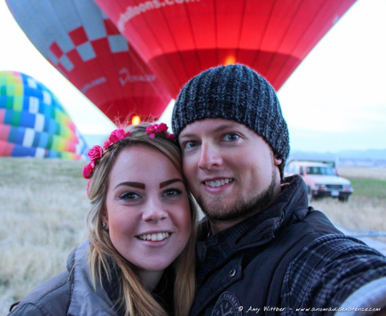 Mike & Amy, Pre Balloon Flight, Voyager Balloons, Goreme, Cappadocia, Turkey