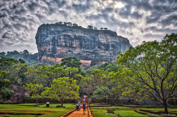 The impressive Lion Rock of Sigiriya, jutting out of the earth and standing nearly 200 metres high.