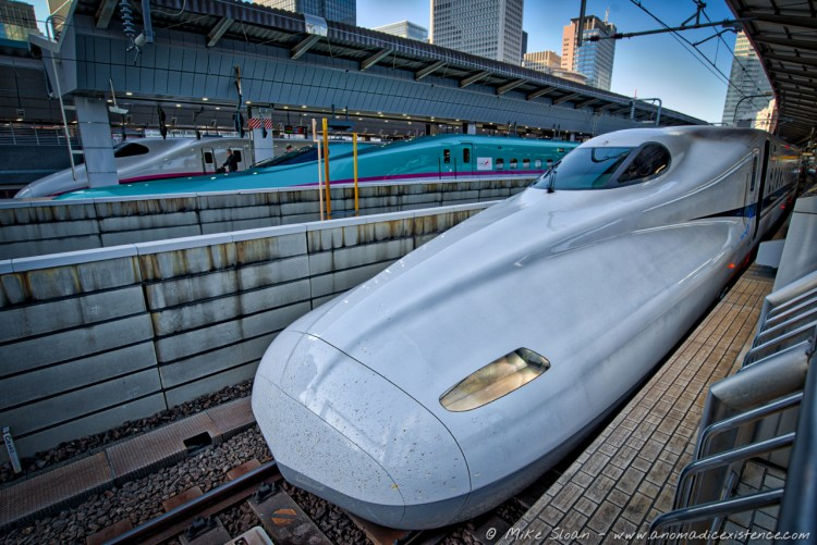 Various shinkansen at Tokyo Train Station.
