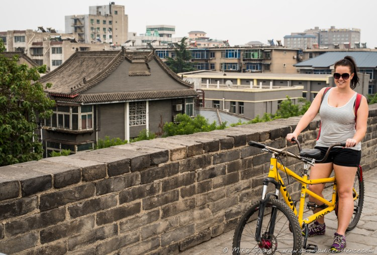 Cycling the ancient city walls of Xi'an is the best fun!