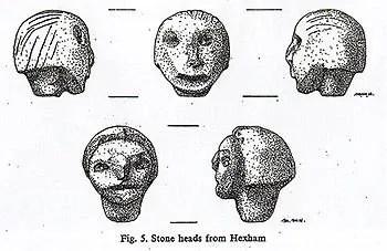 Dessins des Hexham Heads par Mary Hurrell du Musée des antiquités.
