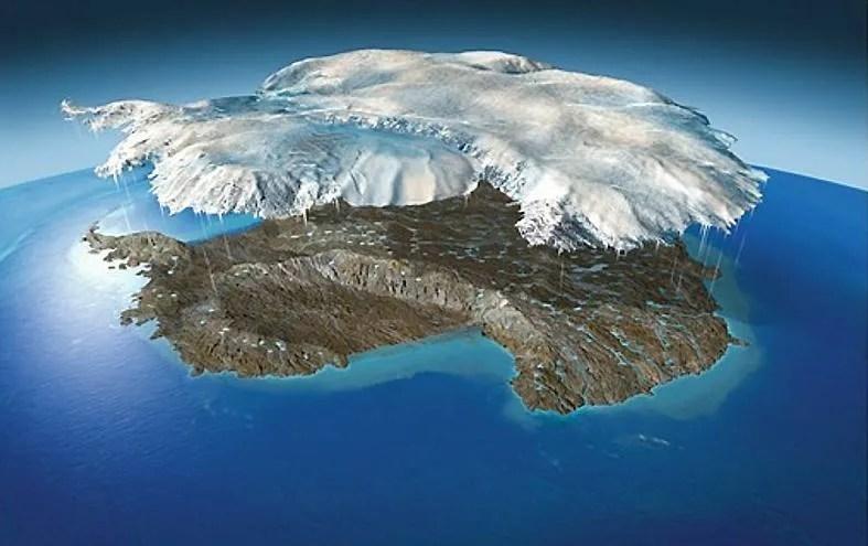 As massas de gelo e terra do continente Antártico