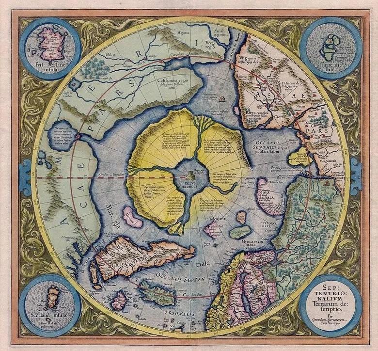 Carte Mercator avec Frisland et Hyperborea