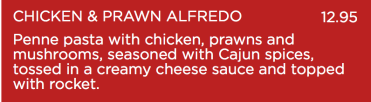'Creamy cheese sauce' for both main meals.