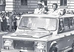 Nicolae si Elena Ceausescu vizita masina Aro
