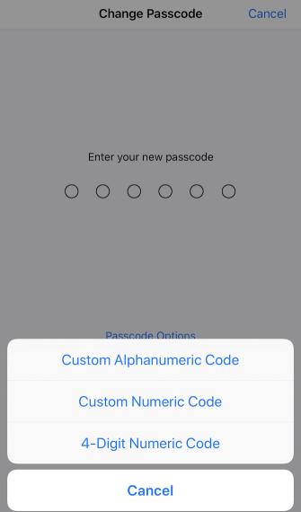 change passcode on ios