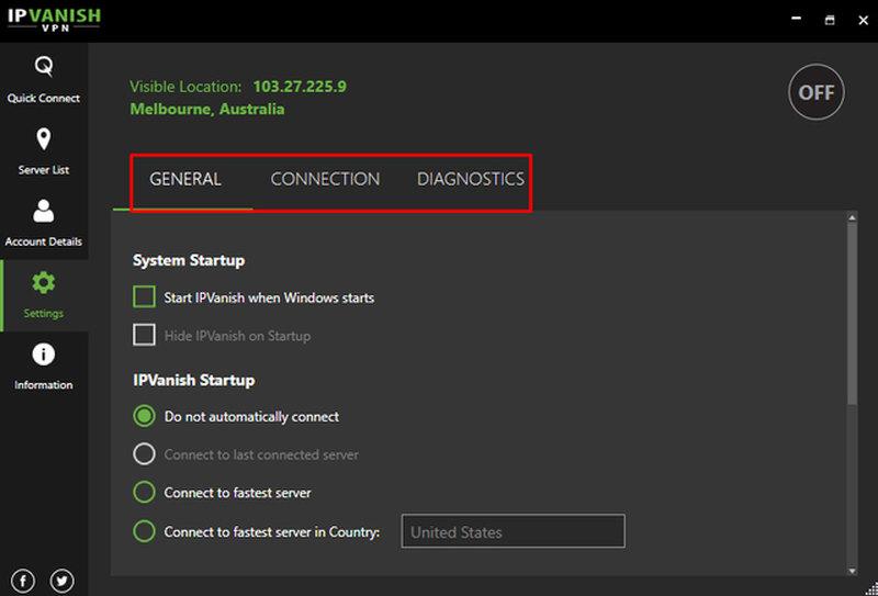 IPVanish desktop client settings