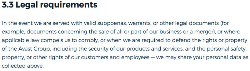 HMA Privacy Policy Snippet