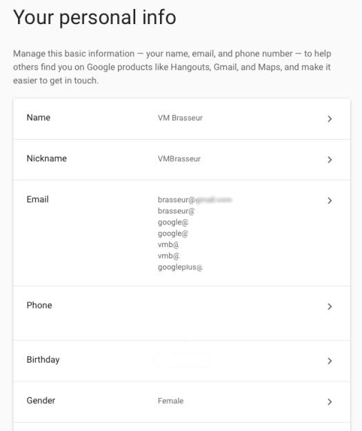 My Google account profile