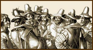 The 'Gunpowder Plot' conspirators. Starting with Thomas Bates, Robert Wintour, Christopher Wright, John Wright, Thomas Percy, Guy Fawkes, Robert Catesby and Thomas Wintour