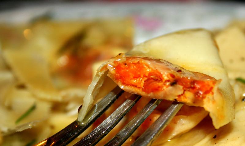 Carrot and feta ravioli, up close