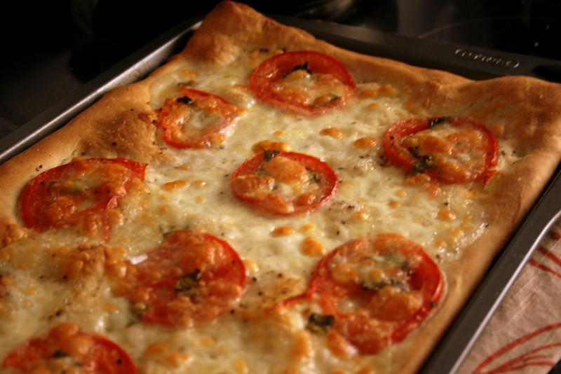 Tomato and fresh mozzarella pizza.
