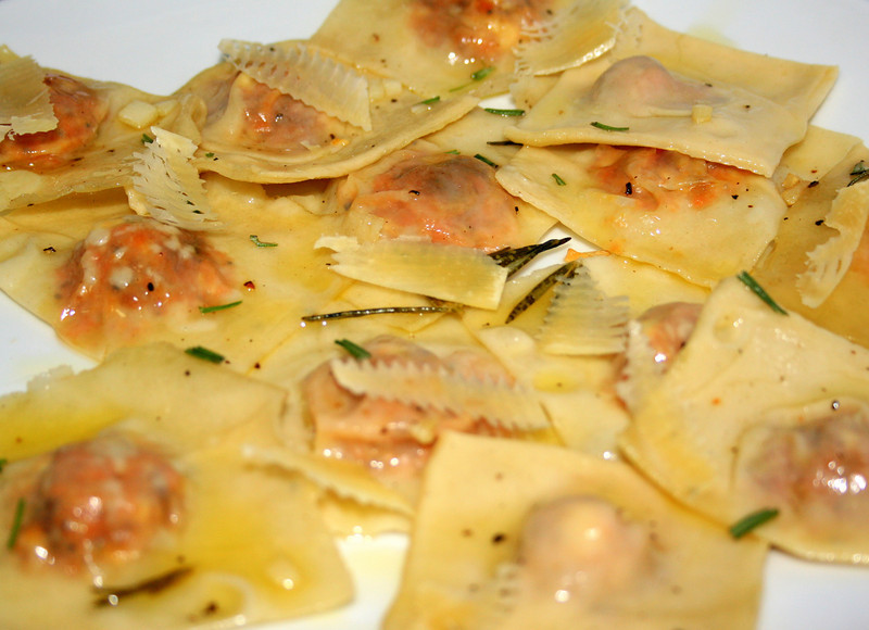 Carrot and Feta raviolis, in rosemary and garlic butter edit