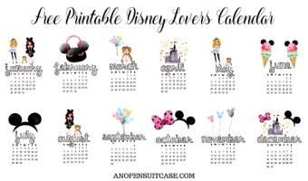 2018 Disney Lovers Calendar ~ Free Download!