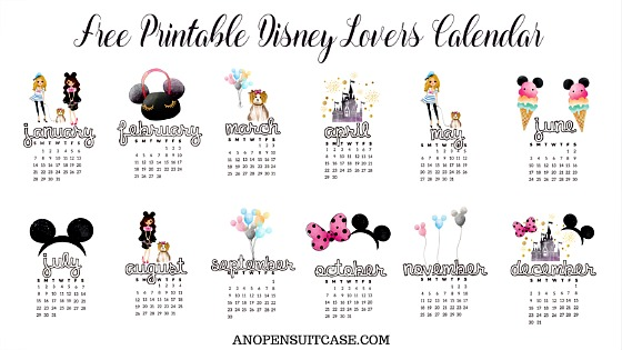 2018 Disney Lovers Calendar ~ Free Downloadable Calendar