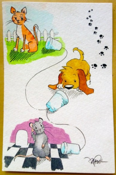 strings attached dog cat mouse telephone watercolor sketch irene park an opus per diem