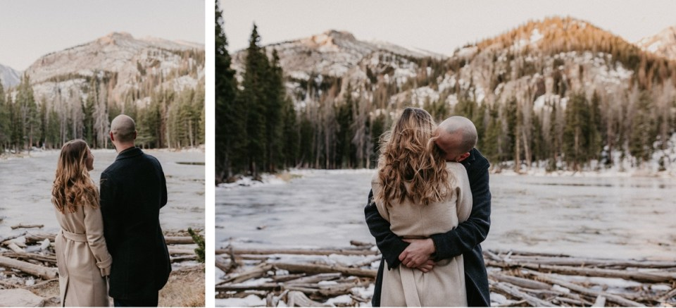 Couple embracing during their Rocky Mountain National Park engagement photos.