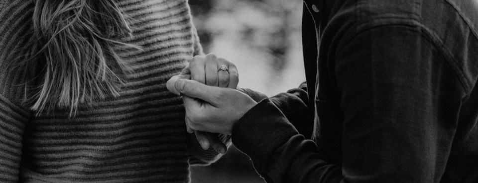 Close up of engagement ring during Rocky Mountain National Park engagement photos.