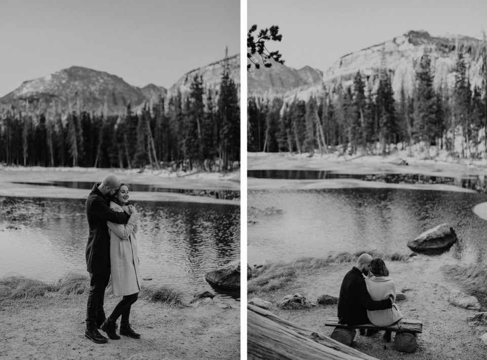 Couple holding each other during their Rocky Mountain National Park engagement photos.
