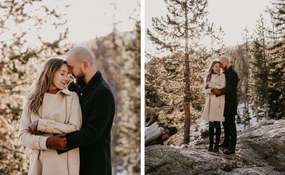 Couple hugging during their Rocky Mountain National Park engagement photos.