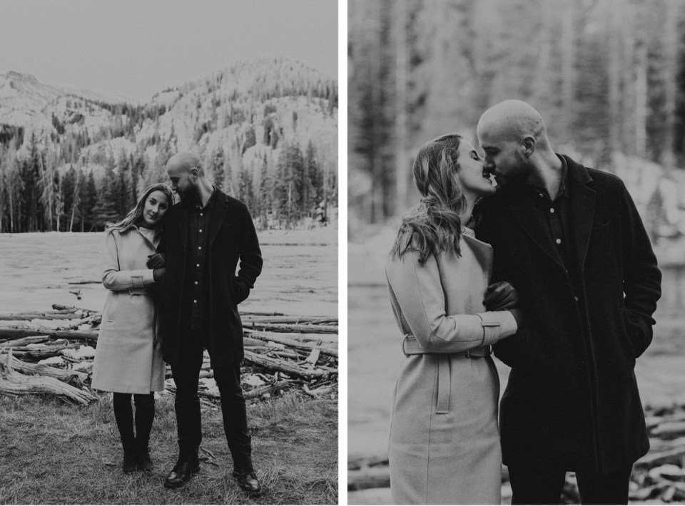 Black and white photo of couple kissing during their Rocky Mountain National Park engagement photos.