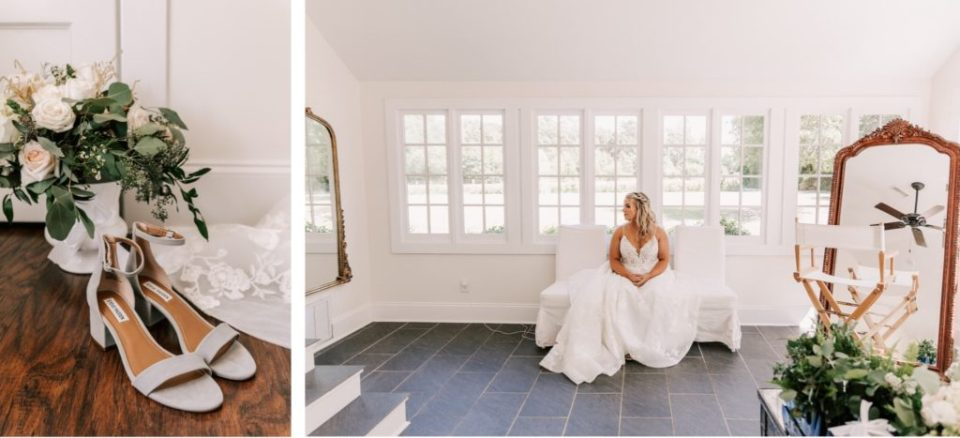 Bridal details and bride sitting in the bridal suite.