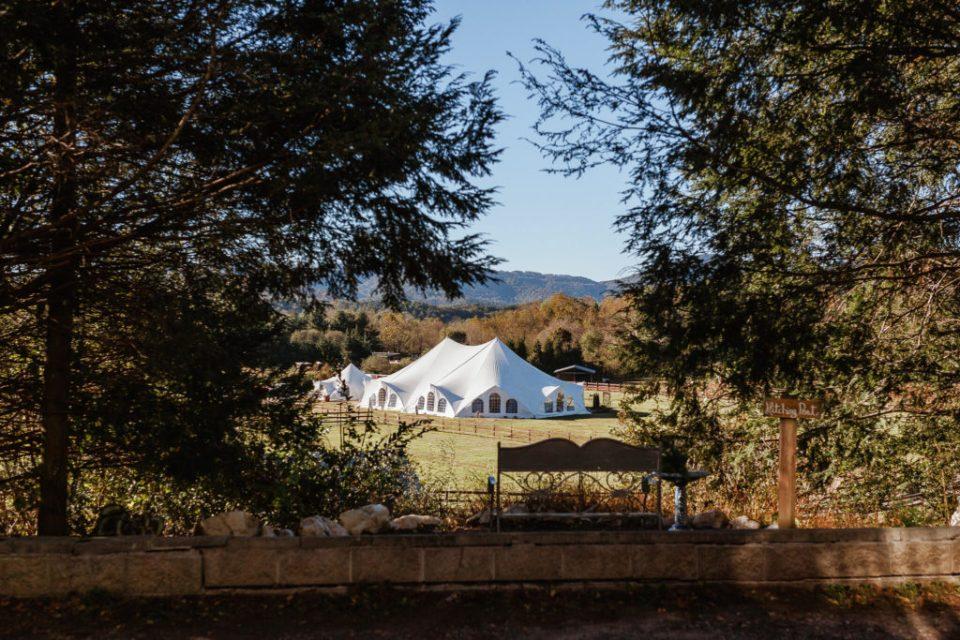 Wide shot of reception tent at Hidden River Events