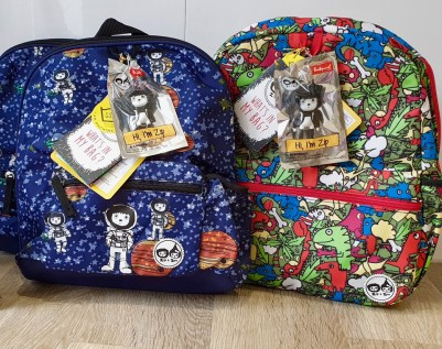 Spaceman Midi and Dino Junior backpacks