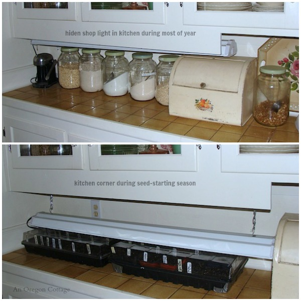 How to Start Seeds Indoors - Kitchen Shop Light Seed Station - An Oregon Cottage