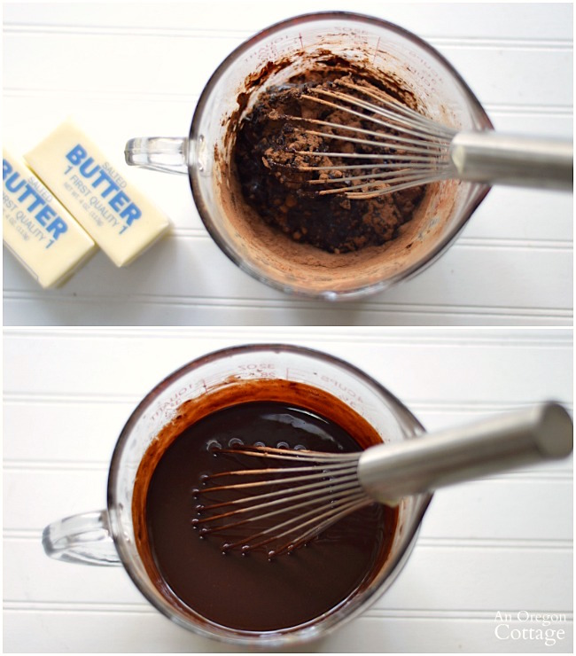 Melting unsweetened chocolate for decadent brownie recipe