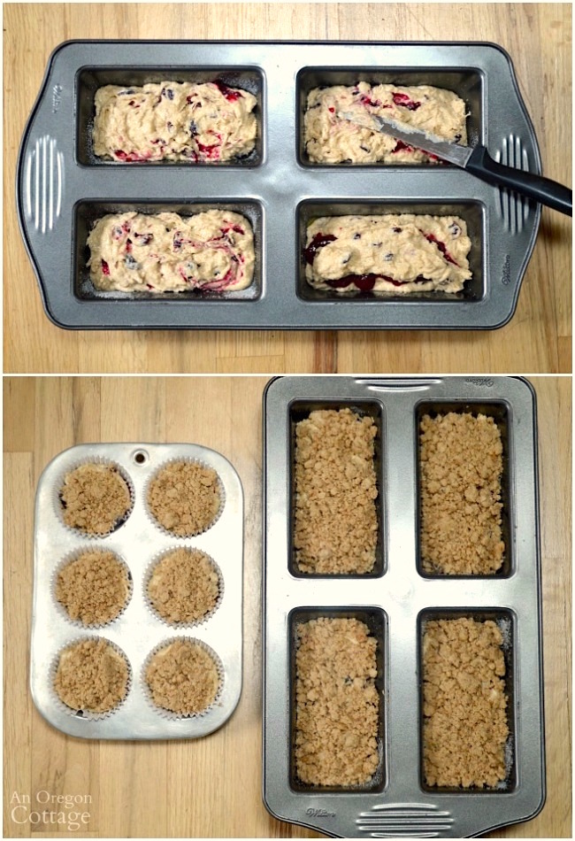 Shaping and topping Cranberry Crumb Loaves and Muffins