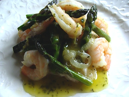 Shrimp & Asparagus over White Bean Puree - An Oregon Cottage