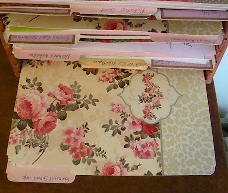 Rose pattern file folders