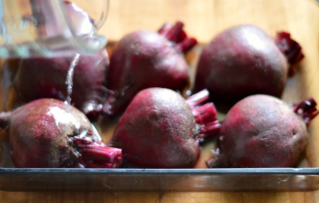 How to Roast and Freeze Beets-adding water to pan