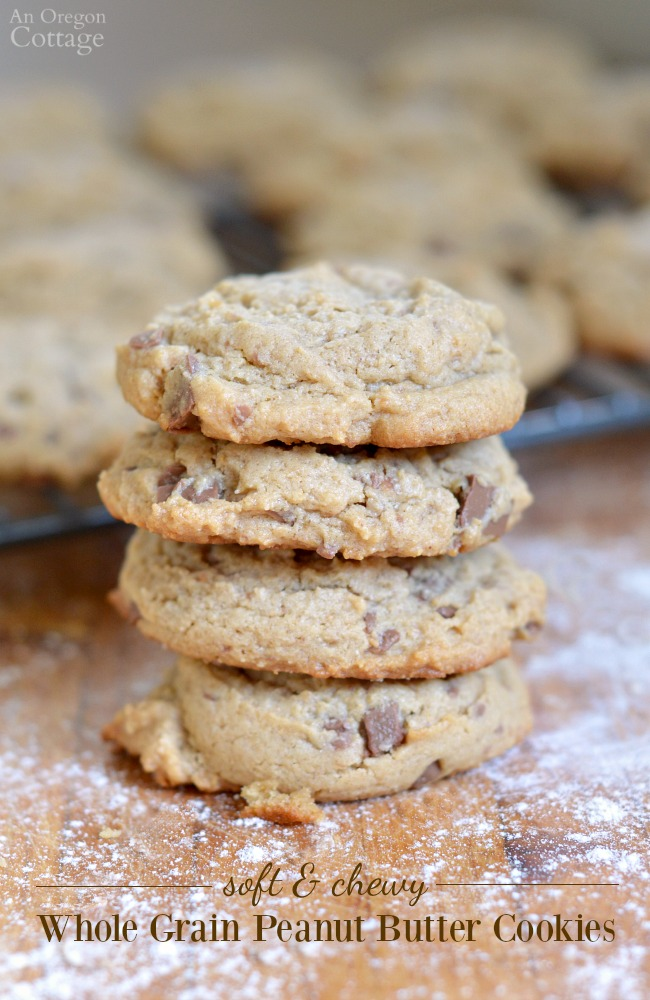 Soft And Chewy Whole Grain Peanut Butter Cookies- with or without chocolate. These cookies are SO good and make a great snack with milk or dessert with coffee.
