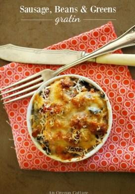 Sausage, Bean and Greens Gratin Recipe