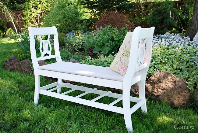 French-style bench from old chairs-upcycle broken chairs into a new upscale bench