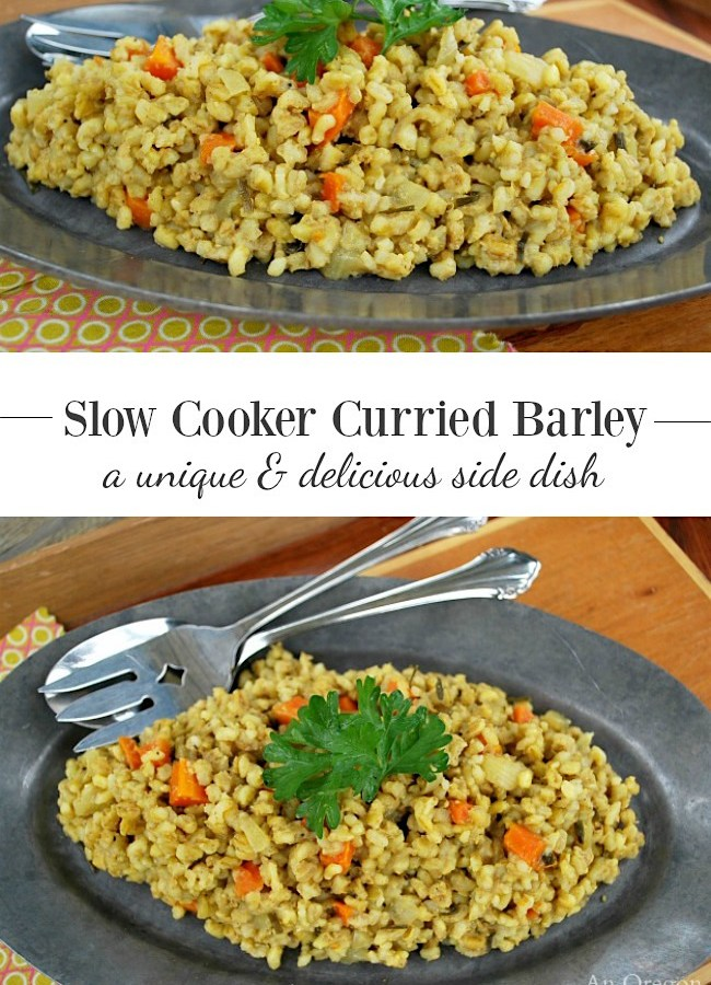 Slow Cooker Curried Barley with carrots and onions-a unique and delicious side dish