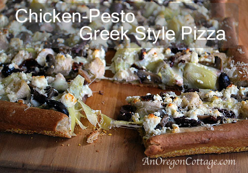 Chicken-Pesto Greek Style Pizza