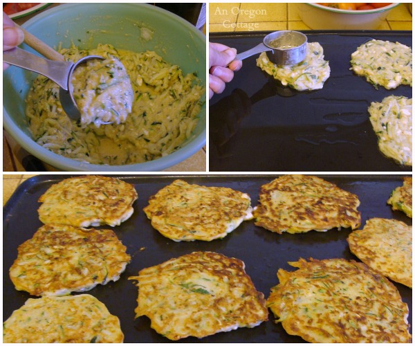 Cooking Zucchini-Feta Fritters with Lime - An Oregon Cottage