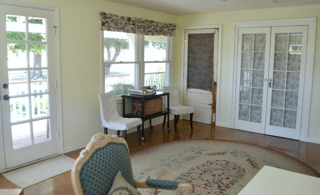 Cottage Family room-workroom with vintage French doors