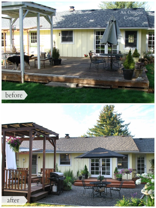 DIY Backyard Deck Makeover Before and After