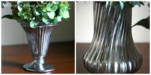 ribbed faux mercury glass vases
