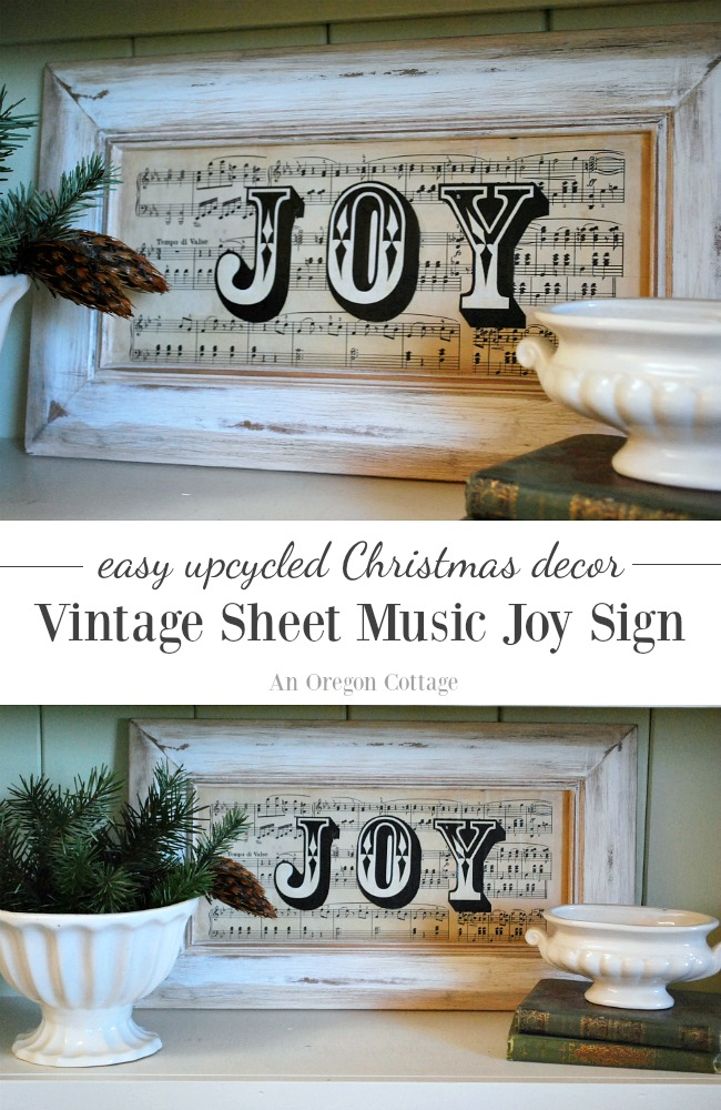 Make an easy vintage sheet music JOY sign for Christmas decor from an old cupboard door.