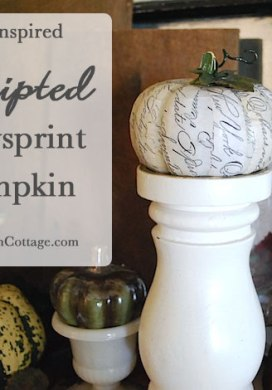 Scripted Newsprint Decoupaged Pumpkin